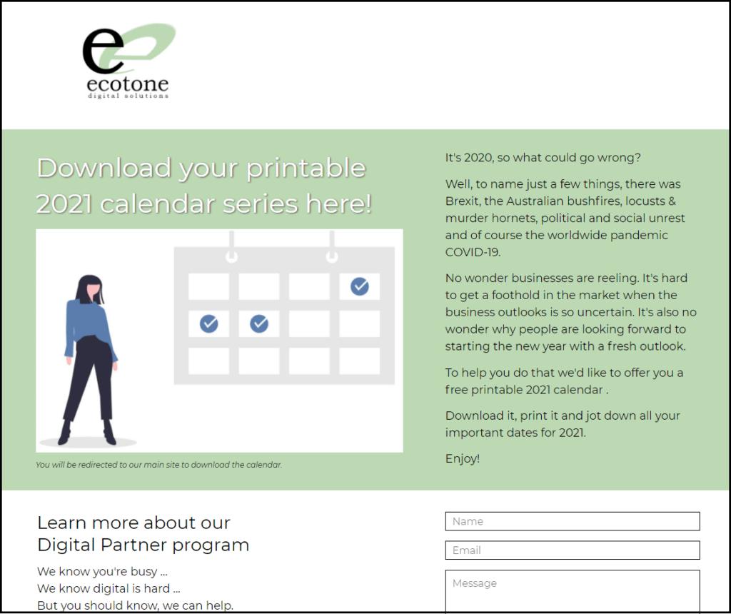 Ecotone Digital Solutions 2021 Calendar